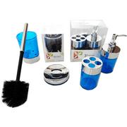 Set-x-4-Piezas-Jabonera-Portacepillo-Dispenser-y--Escobilla-Azul