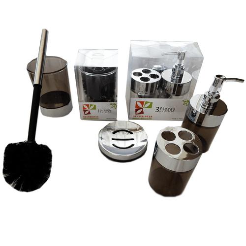 Set-x-4-Piezas-Jabonera-Portacepillo-Dispenser-y--Escobilla-Negro
