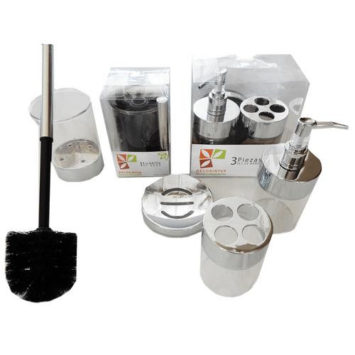 Set-x-4-Piezas-Jabonera-Portacepillo-Dispenser-y--Escobilla-Transparente