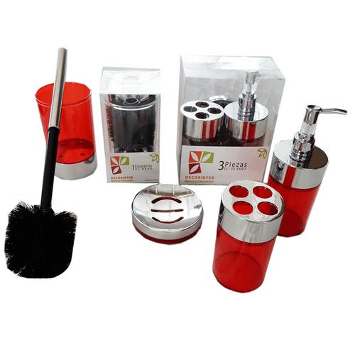 Set-x-4-Piezas-Jabonera-Portacepillo-Dispenser-y--Escobilla-Rojo