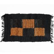 Alfombra-de-Cuero-Adi-Negro-Naranja-50-x-80-cm