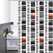 Cortina-de-Baño-PVC-Brooklyn--Negro-Naranja