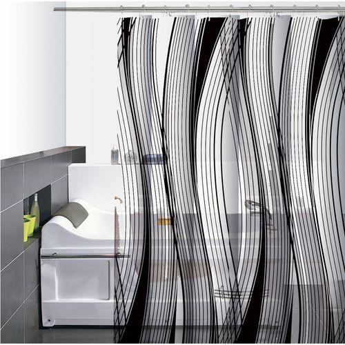 Cortina-de-Baño-PVC-Olas-Transparente-negro