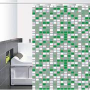Cortina-de-Baño-PVC-Mini-Square-Blanco-Verde
