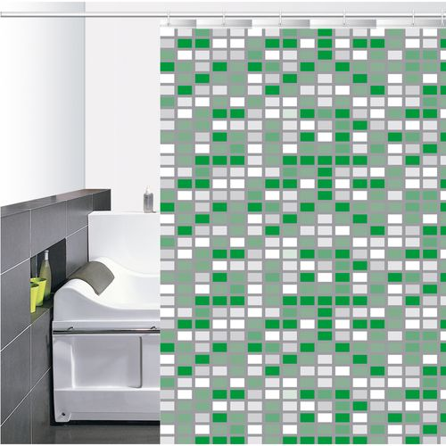 Cortina-de-Baño-PVC-Mini-Square-Blanco-Verde
