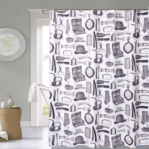 Cortina-de-Baño-Tela-Jacquard--Antique-Bath-blanco-negro