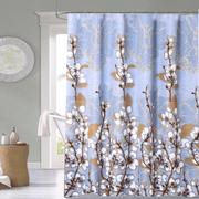 Cortina-de-Baño-Tela-Jacquard--Cotton-Flowers-celeste-natural