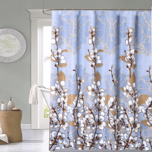Cortina-de-Baño-Tela-Jacquard--Cotton-Flowers-celeste-natural