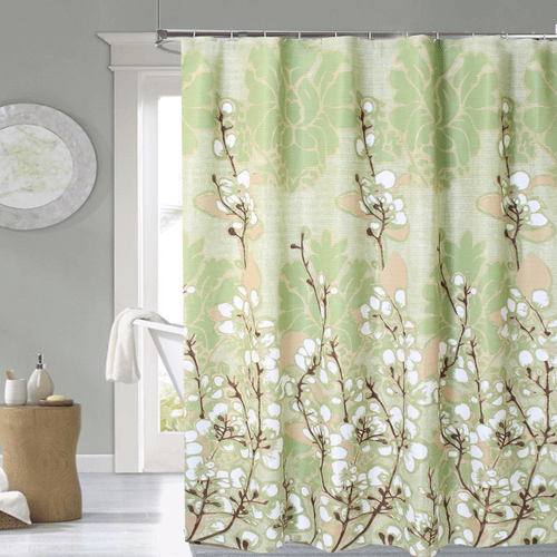 Cortina-de-Baño-Tela-Jacquard--Cotton-Flowers-verde-natural