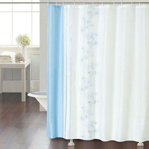 Cortina-de-Bano-Chenille-Luxury-Flower-Garland-Azul-Gris