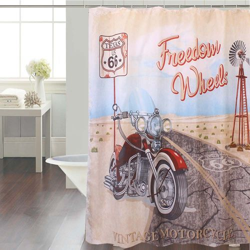 Cortina-de-Baño-Panel-Estampada-Freedom-Wheels