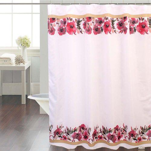 Cortina-de-Bano-Tela-Jacquard-Pretty-Flower-Rosa