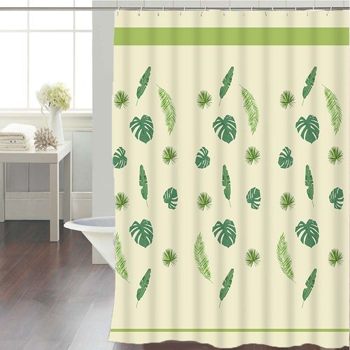 Cortina-de-Baño-Tela-Jacquard-Tropical-Leaves