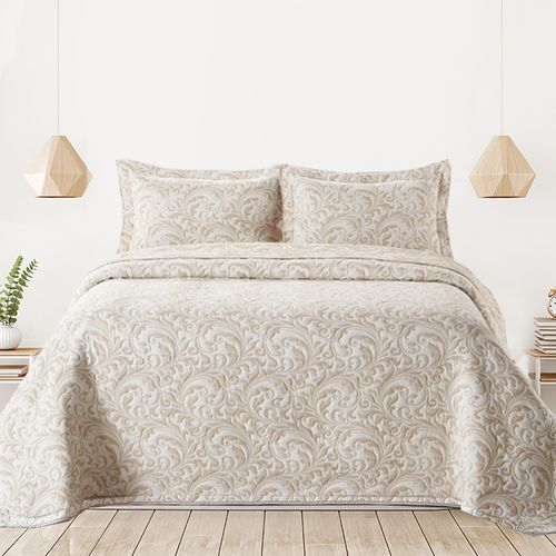 Cubrecama-Quilt-Premium-Cotton-Bamboo-Jackard-Doble-Faz-Rihanna-maiz-blanco-240-x-260